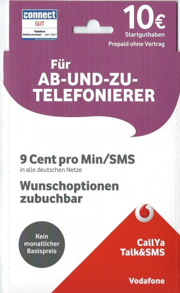 Vodafone CallYa Simkarte Prepaid Tarif Talk und SMS inkl. 10 EUR Startguthaben