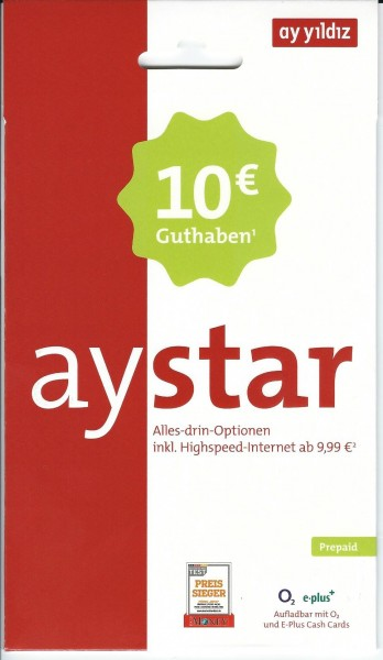 Ay Yildiz Aystar Prepaid SIM Karte 10 € Guthaben NEU OVP