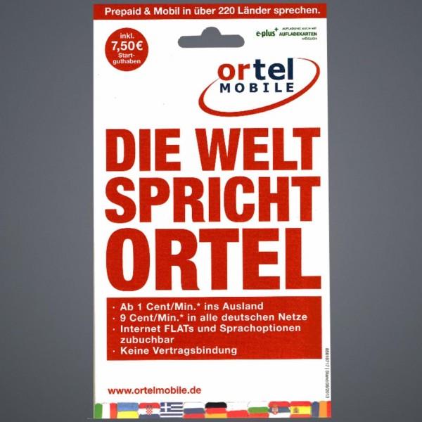 Ortel Mobile Prepaid SIM Karte 7,50 € Startguthaben NEU